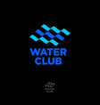 water club logo abstract blue waves swimming pool vector image vector image