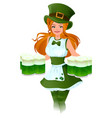 woman waitress patrick holds glass of green beer vector image vector image