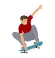young teenager jumps on a skateboard vector image