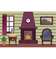 Cozy room with fireplace vector image