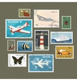 Postage stamps collection vector image