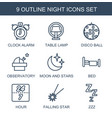 9 night icons vector image vector image