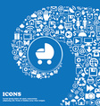 baby pram icon sign Nice set of beautiful icons vector image vector image