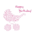 bacarriage in floral style vector image