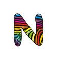 Background skin zebra shaped letter N vector image vector image
