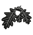 black and white oak branch silhouette vector image