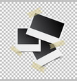 blank retro photo frames with sticker on white vector image vector image