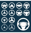 Car Steering Wheel silhouettes Set vector image