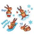 Cartoon deers Christmas stickers vector image