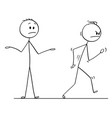 cartoon of angry man leaving conversation vector image vector image