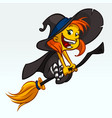 cartoon pretty funny witch flying on her broom vector image vector image