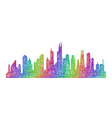 Chicago skyline silhouette - multicolor line art vector image vector image
