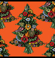 christmas trees woven from flowers vector image vector image