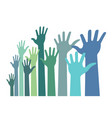 colorful up hands distort icon raised hands vector image