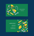 construction tools isometric icons card vector image vector image
