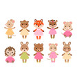 cute dressed woodland animals in modern flat style vector image vector image