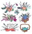 Doodle vintage floral grouphand sketched element vector image vector image