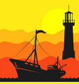 fishing boat in sea and lighthouse vector image vector image