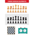 Flat design isolated black and white chess figures vector image