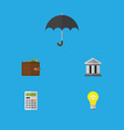 flat icon incoming set of billfold parasol bubl vector image vector image