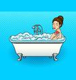 girl takes a bath pop art vector image vector image