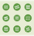 gmo free icon set natural food without gmo label vector image