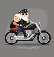 grandma and grandpa riding a motorcycle vector image
