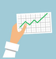 hand holds a graph going up vector image vector image