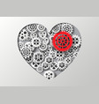 heart and gear vector image vector image