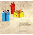 Holiday card with three gift boxes vector image vector image