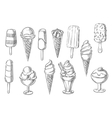 Ice cream desserts sketch icons vector image vector image