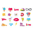 icons set stickers snack accessory items vector image