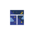 isolated night sky flat icon frame element vector image vector image