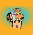 man with an open head fast food vector image vector image