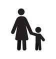mother with child in front view silhouette vector image