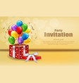 party invitation card with gifts and balloons vector image vector image