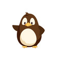 penguin waving right wing and sending greetings vector image vector image