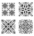 pixel ethnic seamless pattern set vector image