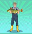 pop art fisherman holding big fish good catch vector image