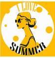 portrait summer woman vector image