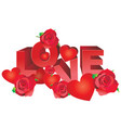 red love letters decorated red roses and vector image vector image