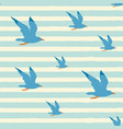 seamless striped sea pattern with flying seagulls vector image vector image