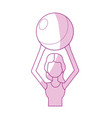 silhouette healthy woman doing exercise with ball vector image