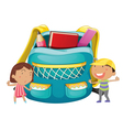 Small kids with a bag vector image vector image