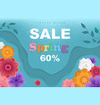 spring sale banner with paper flowers vector image vector image
