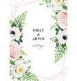 stylish elegant floral art wedding invitation vector image vector image