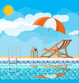 swimming pool and lounger vector image