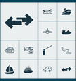 transportation icons set with sail ship airplane vector image