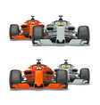two cars overtake front view flat vector image