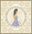 vintage invitation with girl sketch style - vector image vector image